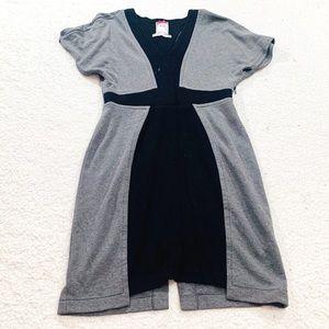 Yoana baraschi black gray vneck slit back dress